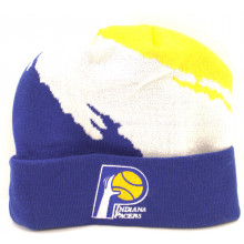 NBA Officially Licensed Indiana Pacers Mitchell & Ness Blue White Yellow Broken Stripe Cuffed Beanie