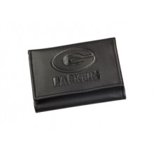 Green Bay Packers Black Leather Tri-Fold Wallet