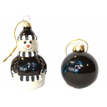 Carolina Panthers Blown Glass Snowman and Ball Ornament Set