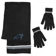 Carolina Panthers Chenille Scarf & Glove Set