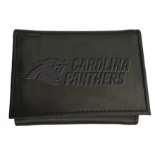 Carolina Panthers Black Leather Tri-Fold Wallet