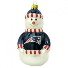 "New England Patriots 3"" Blown Glass Snowman Ornament"