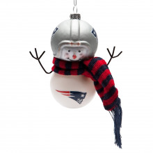 New England Patriots Blown Glass Snowman with Scarf