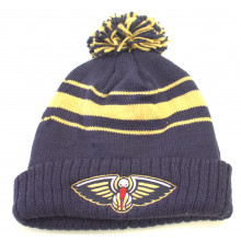 NBA Officially Licensed New Orleans Pelicans Navy Striped Pom Cuff Beanie