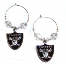Oakland Raiders Beaded Hoop Earrings