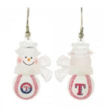 Texas Rangers Snowman Baseball Earrings