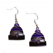 Baltimore Ravens Beanie Style Dangle Earrings