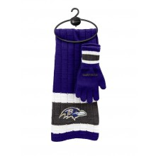 Baltimore Ravens Cold Weather Knit Scarf and Glove Set