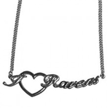 Baltimore Ravens Heart Script Necklace