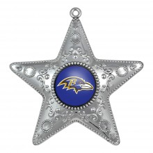 "Baltimore Ravens 4"" Silver Star Ornament"