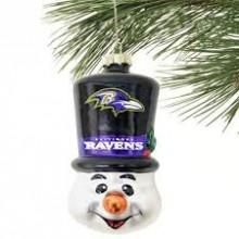 Baltimore Ravens Blown Glass Top Hat Snowman Ornament