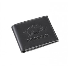 Arkansas Razorbacks Black Leather Bi-Fold Wallet