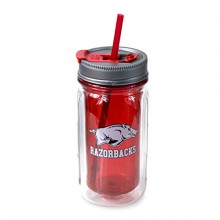Arkansas Razorbacks Cool Gear 16 oz Double Wall Mason Jar Tumbler with Straw
