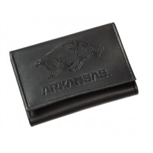 Arkansas Razorbacks Black Leather Tri-Fold Wallet