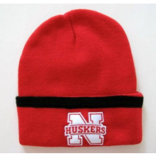 NCAA Officially Licensed Nebraska Cornhuskers Red Black Stripe Cuffed  Beanie