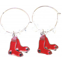 Boston Red Sox Beaded Hoop Dangle Earrings