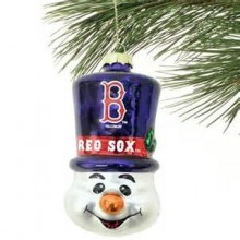 Boston Red Sox Blown Glass Top Hat Snowman Ornament
