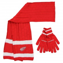 Detroit Red Wings Cold Weather Knit Scarf and Glove Set