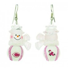 Cincinnati Reds Snowman Baseball Earrings