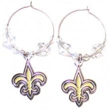 New Orleans Saints Beaded Hoop Earrings