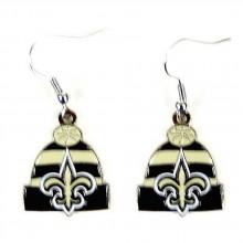 New Orleans Saints Beanie Style Dangle Earrings