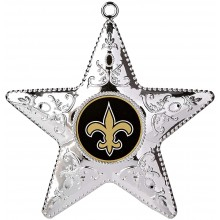 "New Orleans Saints 4"" Silver Star Ornament"