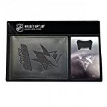 San Jose Sharks Bi-fold Leather Wallet and Bottle Opener Set