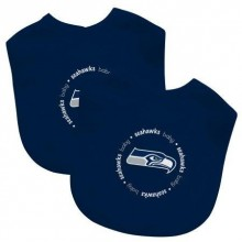 Seattle Seahawks 2 Pack Embroidered Baby Bib Set