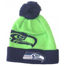 NFL Officially Licensed Seattle Seahawks Embroidered Logo Pom Cuff Beanie