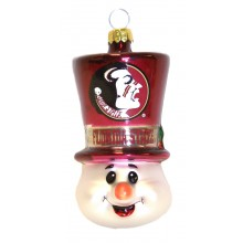 "Florida State Seminoles 3"" Blown Glass Top Hat Snowman Ornament"