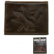 San Jose Sharks Brown Leather Tri Fold Wallet