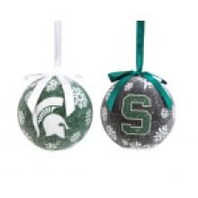 Michigan State LED Ball Ornaments Set of 2