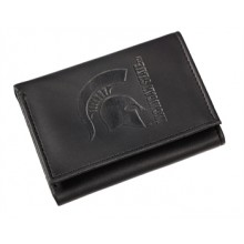 Michigan State Spartans Black Leather Tri-Fold Wallet