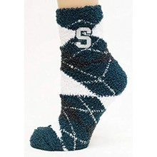 Michigan State Spartans Argyle Fuzzy Lounge Socks