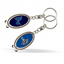 St Louis Blues 2019 Stanley Cup Champions Metal Oval 2-Sided Spinner Keychain Hockey