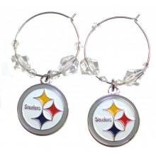 Pittsburgh Steelers Beaded Hoop Earrings