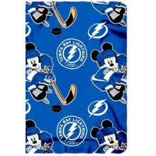 "Tampa Bay Lightning 50"" X 60"" Mickey Mouse Character Fleece Throw"