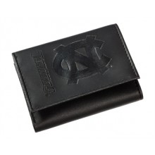 North Carolina Tar Heels Black Leather Tri-Fold Wallet