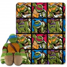 "Nickelodeon Teenage Mutant Ninja Turtles, Warrior Spirit Character Shaped Pillow and Fleece Throw Blanket Set, 40"" x 50"""