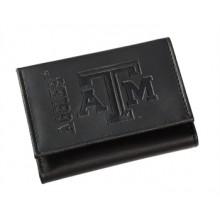 Texas A&M Aggies Black Leather Tri-Fold Wallet