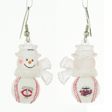 Minnesota Twins Snowman Baseball Earrings