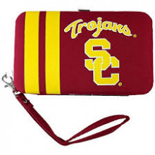 "USC Trojans Distressed Wallet Wristlet Case (3.5"" X .5"" X 6"")"