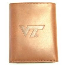 Virginia Tech Hokies Brown Leather Tri Fold Wallet