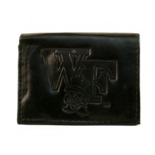 Wake Forest Demon Deacons Black Leather Tri Fold Wallet