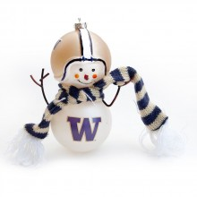 "Washington Huskies 6"" Blown Glass Snowman Ornament"
