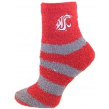 Washington State Cougars Stripe Fuzzy Socks