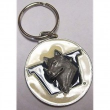 Washington Huskies Oval Carved Metal Keychain