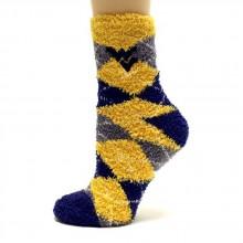 West Virginia Mountaineers Argyle Fuzzy Lounge Socks