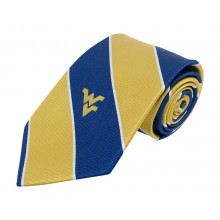 NCAA Officially Licensed West Virginia Mountaineers Wide Striped Silk Necktie