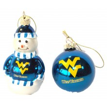 West Virginia Mountaineers Blown Glass Snowman and Ball Ornament Set
